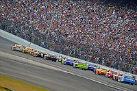 15 February  2009, Daytona Beach, Florida USA.Kyle Busch (18) leads Matt Kenseth and the field..Daytona International Speedway: Daytona 500.©F.Peirce Williams 2009.F. Peirce Williams.photography
