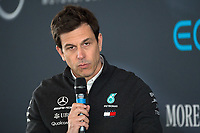 Toto Wolff (Team Principal & CEO) of Mercedes-AMG Petronas Motorsport during the Mercedes-AMG F1 W09 EQ Power+ 2018 F1 Car Launch at Silverstone, England on 22 February 2018. Photo by Vince  Mignott.