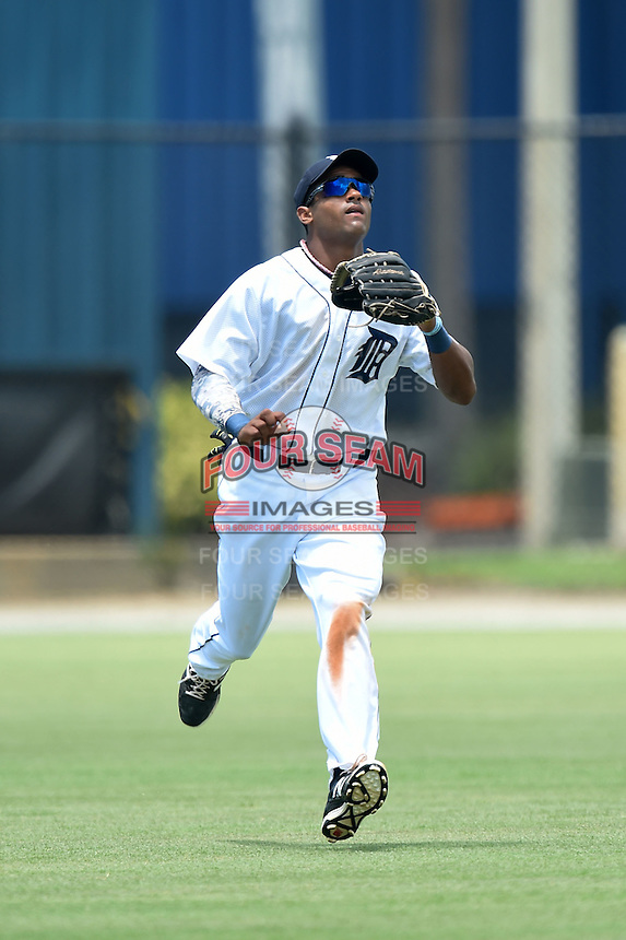 GCL Tigers outfielder Derek Hill (30) tracks down a fly ball during a game against the GCL Blue Jays on June 30, 2014 at Tigertown in Lakeland, Florida.  GCL Blue Jays defeated the GCL Tigers 3-1.  (Mike Janes/Four Seam Images)