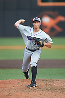 Winston-Salem Dash relief pitcher Devan Watts (27) in action against the Buies Creek Astros at Jim Perry Stadium on August 15, 2018 in Buies Creek, North Carolina.  The Astros defeated the Dash 5-0.  (Brian Westerholt/Four Seam Images)