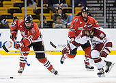 Yale Lewis (NU - 20), Tyler Magura (Harvard - 17) (Liotti) - The Northeastern University Huskies defeated the Harvard University Crimson 3-1 in the Beanpot consolation game on Monday, February 12, 2007, at TD Banknorth Garden in Boston, Massachusetts.