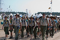 A Hungarian troop marching to camp in camp. Photo: Kim Rask/Scouterna