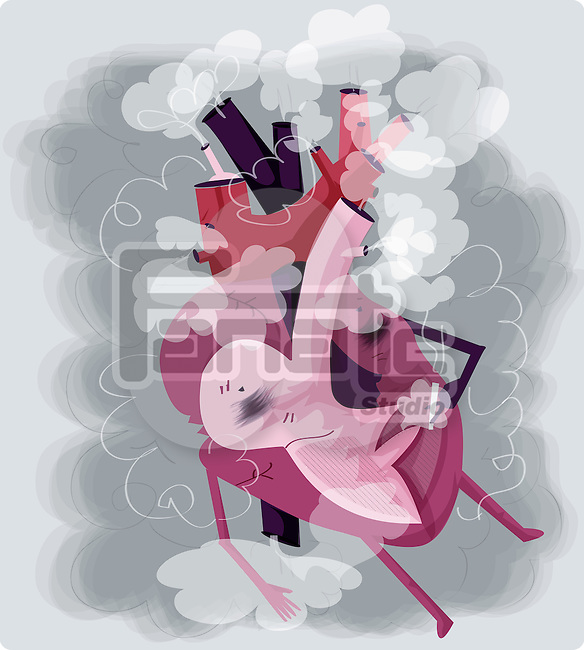 Human heart smoking cigarette depicting addiction