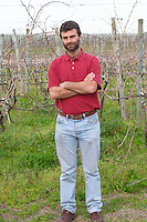 Manuel Filgueira in the vineyard Vinedos y Bodega Filgueira Winery, Cuchilla Verde, Canelones, Montevideo, Uruguay, South America