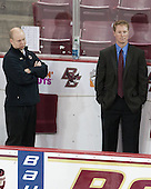John Hegarty (BC - Director, Hockey Operations), Greg Brown (BC - Associate Head Coach) - The Boston College Eagles defeated the visiting University of Vermont Catamounts to sweep their quarterfinal matchup on Saturday, March 16, 2013, at Kelley Rink in Conte Forum in Chestnut Hill, Massachusetts.