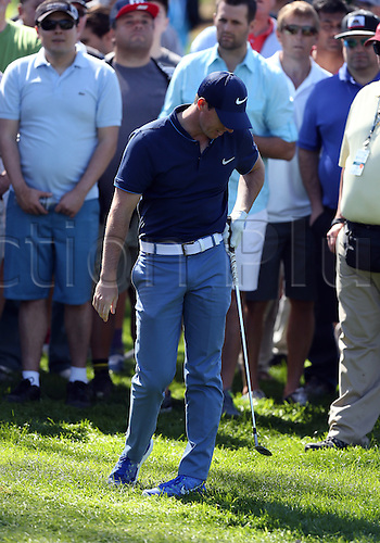 20.02.2016. Pacific Palisades, California, USA.  Rory McIlroy reacts after hitting a shot  during the third round of the Northern Trust Open at Riviera Country Club in Pacific Palisades, CA.