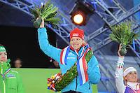SCHAATSEN: AMSTERDAM: Olympisch Stadion, 02-03-2014, KPN NK Sprint/Allround, Coolste Baan van Nederland, Nederlandse allround kampioene Yvonne Nauta, ©foto Martin de Jong