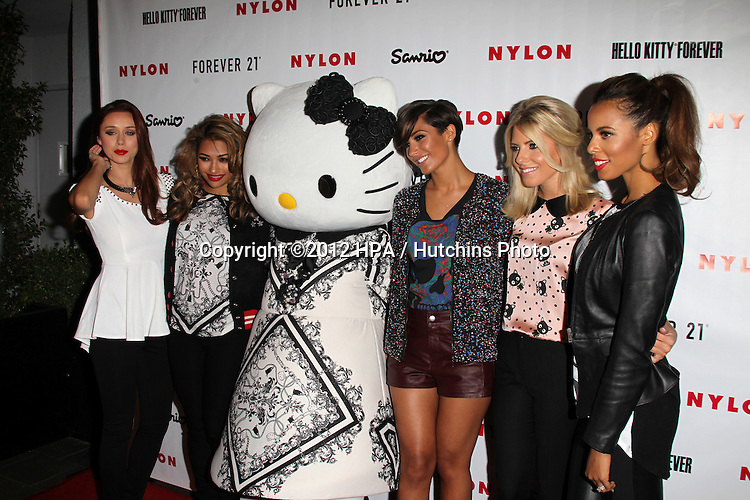 LOS ANGELES - OCT 15:  (L-R) Singers Una Healy, Vanessa White, Frankie Sandford, Mollie King, and Rochelle Wiseman of The Saturdays of The Saturdays arrives at  Nylon's October IT Issue party at London West Hollywood on October 15, 2012 in Los Angeles, CA