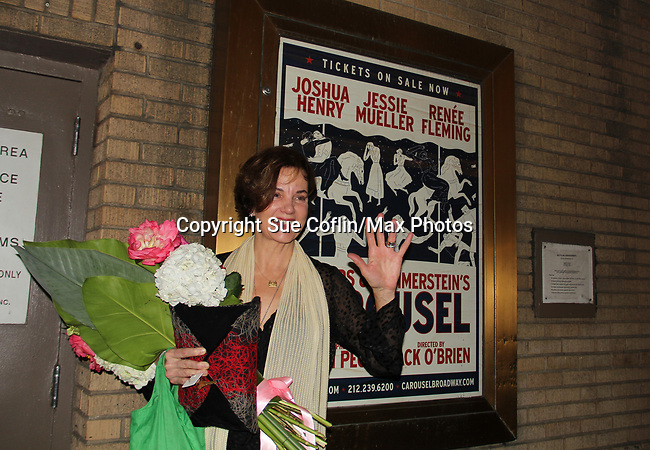 As The World Turns' Margaret Colin stars as Mrs. Mullin in Broadway's Carousel with opening night being April 12, 2018 at the Imperial Theatre at the stage door, New York City. New York. (Photo by Sue Coflin/Max Photo)