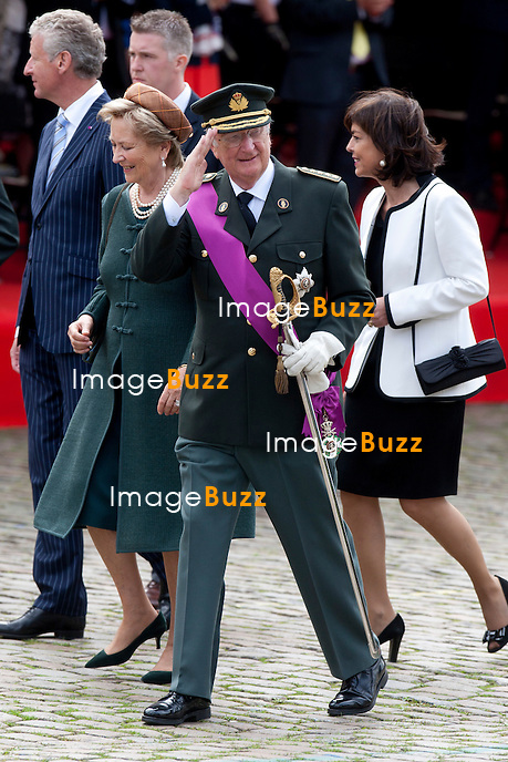 King Albert and Queen Paola pictured during a military parade on the occasion of today's Belgian National Day, Saturday 21 July 2012 in Brussels.