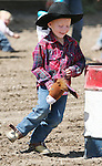 Fallon's Chase McKern competes in the Pee-Wee Stick Horse Barrel Race at the Fallon Junior Rodeo.  Photo by Tom Smedes.