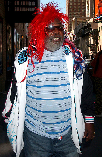 WWW.ACEPIXS.COM . . . . .....May 3, 2007. New York City...  ..George Clinton walks the streets of New York City.....Please byline: Kristin Callahan - ACEPIXS.COM..... *** ***..Ace Pictures, Inc:  ..Philip Vaughan (646) 769 0430..e-mail: info@acepixs.com..web: http://www.acepixs.com