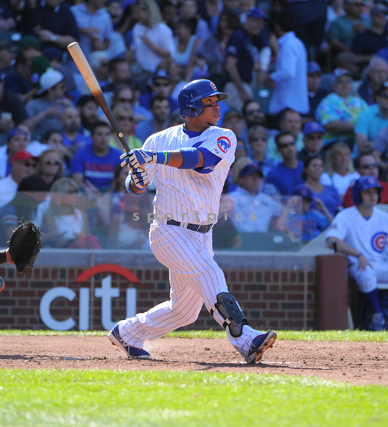 Chicago Cubs Luis Valbuena (24) during a game against the Miami Marlins on June 6, 2014 at Wrigley Field in Chicago, IL. The Cubs beat the Marlins 5-3.
