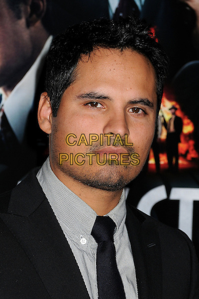 "Michael Pena.""Gangster Squad"" Los Angeles Premiere held at Grauman's Chinese Theatre, Hollywood, California, USA..January 7th, 2013.headshot portrait stubble facial hair grey gray shirt black suit  .CAP/ADM/BP.©Byron Purvis/AdMedia/Capital Pictures."