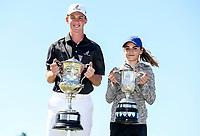 Daniel Hillier (L) and Silvia Brunotti win the New Zealand Amateur Golf Championship final against at Russley Golf Course, Christchurch, New Zealand. Sunday 5 November 2017. Photo: Simon Watts/www.bwmedia.co.nz