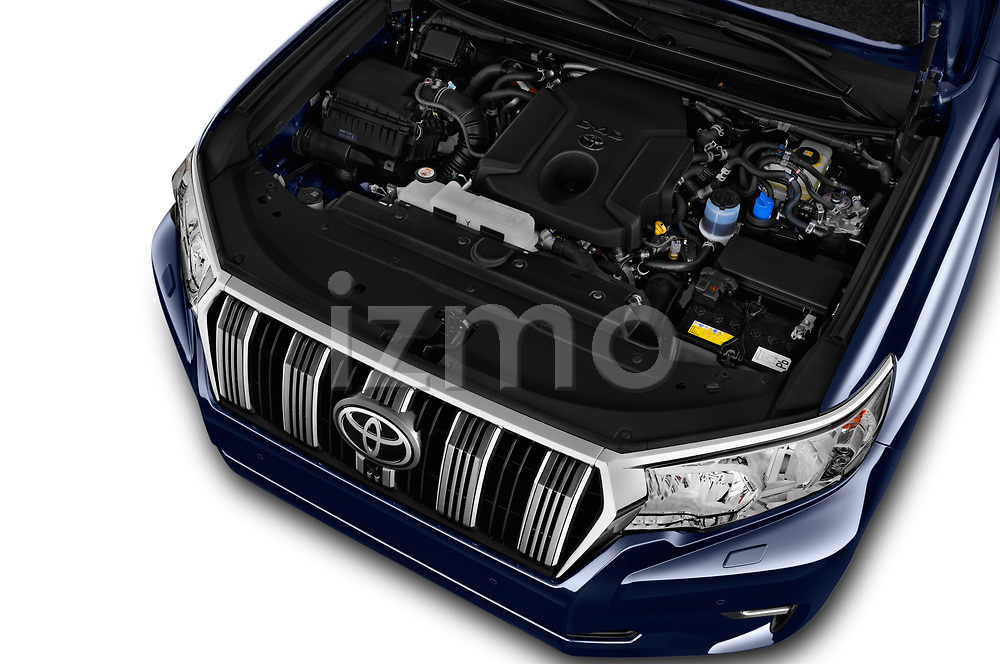 Car Stock 2018 Toyota Land-Cruiser-150 Style 3 Door SUV Engine  high angle detail view