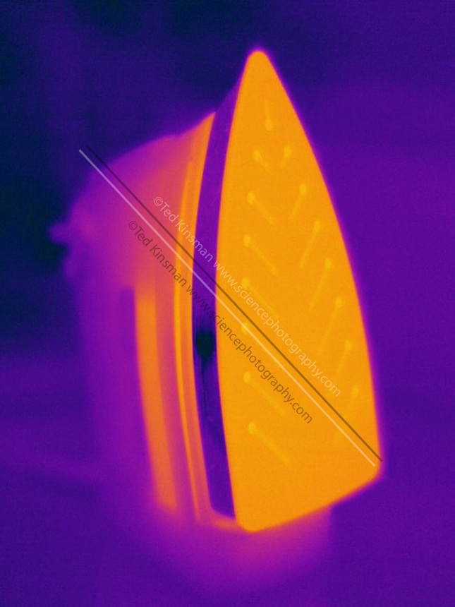 A Thermogram of a warm iron.  The different colors represent different temperatures on the object. The lightest colors are the hottest temperatures, while the darker colors represent a cooler temperature.  Thermography uses special cameras that can detect light in the far-infrared range of the electromagnetic spectrum (900?14,000 nanometers or 0.9?14 µm) and creates an  image of the objects temperature..