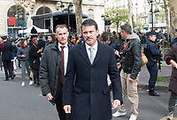 November 13 2017, PARIS FRANCE<br /> the President of France Emmanuel Macron<br /> honors the victims of the 13 november 2015<br /> in the scenes of attacks. Manuel Valls leaves<br /> the Town Hall. # HOMMAGE AUX VICTIMES DES ATTENTATS DU 13 NOVEMBRE 2015