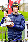 Elma Walsh presents the trophy to Gary O'Hanlon winner of the Kerry's Eye Tralee, Tralee International Marathon on Saturday.