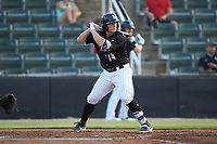 Andrew Vaughn (14) of the Kannapolis Intimidators at bat against the Lakewood BlueClaws at Kannapolis Intimidators Stadium on July 18, 2019 in Kannapolis, North Carolina. The Intimidators defeated the BlueClaws 7-1. (Brian Westerholt/Four Seam Images)
