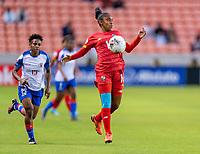 HOUSTON, TX - FEBRUARY 3: Gloria Saenz #16 of Panama controls the ball during a game between Panama and Haiti at BBVA Stadium on February 3, 2020 in Houston, Texas.