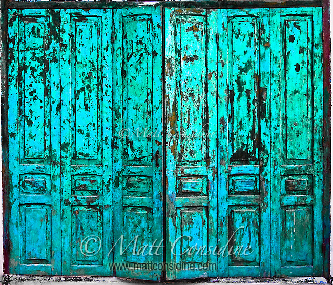 Weathered folding colonial door.<br /> (Photo by Matt Considine - Images of Asia Collection)