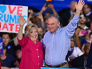 Harrisburg, PA - July 29, 2016: Democratic presidential nominee Hillary Clinton and vice presidential candidate Tim Kaine greet supporters at the Braod Street Market in Harrisburg, PA, during a campaign stop on the Clinton/Kaine bus tour July 29, 2016. (Photo by Don Baxter/Media Images International)