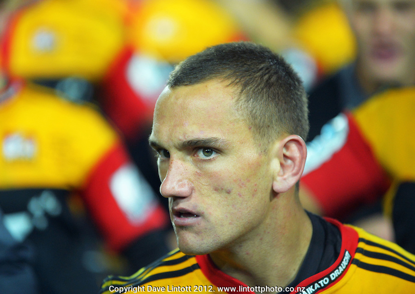 Aaron Cruden leads a haka after the Chiefs won the Super 15 rugby final between the Chiefs and Sharks at Waikato Stadium, Hamilton, New Zealand on Saturday, 4 July 2012. Photo: Dave Lintott / lintottphoto.co.nz