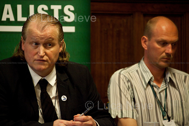 Gavin Millar, QC and Jason Parkinson, journalist - 2012 <br /> <br /> London, 19/04/2012. House of Parliament, Committee Room 12. NUJ (National Union of Journalists) organised a meeting to discuss the protection of sources and journalistic material in production order cases. From the NUJ London Photographer Branch (LPB) website: <<All those involved (freelance video journalist Jason Parkinson, BBC, ITN, BskyB, Hardcash Productions) in the Dale Farm production order case have shown great concern at the increase in the use of production orders against the media over the last 18 months and the fear is journalists are being forced into becoming the eyes and ears of the state. The consequences of this can have serious implications towards the impartiality and safety of journalists in the future>>. The speakers included: John Battle (ITN Head of Compliance), Gavin Millar QC (Doughty Street Chambers, lawyer specialised in media, public, employment and discrimination law), Jason Parkinson (NUJ freelance video journalist), Michelle Stanistreet (NUJ general secretary). Chair of the event was Austin Mitchell (Labour MP).