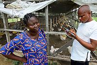 NIGERIA, Oyo State, Ibadan, Legehennenhaltung, Frau Titilope Asinuju Iaybo, Marktfrau aus Lagos vom Arena Markt, kauft Legehennen zum Verkauf in Lagos, rechts Farmmanager