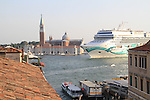 Crusie ship on the Grand Canal, Venice, Italy, Europe.