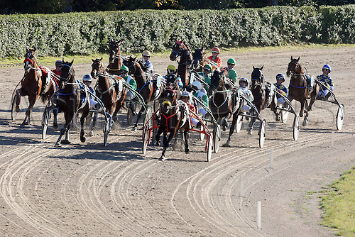 16 10 2011  Hamburg, Germany.  Harness racing horses as the field enters the final part of the race