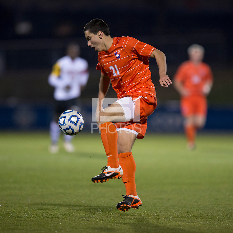 Ara Amirkhanian (21) of Clemson controls the ball during the game at the Maryland SoccerPlex in Germantown, MD. Maryland defeated Clemson, 1-0, in overtime.  With the win the Terrapins advanced to the finals of the ACC men's soccer tournament.
