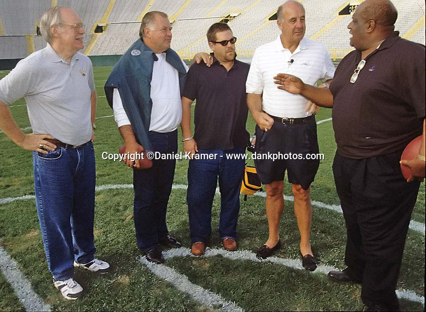 From left, former Green Bay Packers Ken Bowman and Jerry Kramer, film maker Ted Demme, former Packers Max McGee and Willie Davis in Lambeau Field for a reunion of Lombardi's Legends in September of 2001. Demme who was working on a feature-length film about Lombardi's Packers, died four months later. McGee died in 2007.