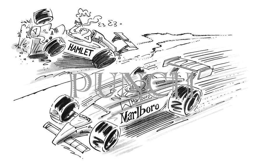 (A racing car sponsored by Marlboro passes a crashed car sponsored by Hamlet cigars where the driver is relaxing and smoking)