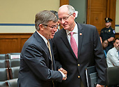Vice Admiral Joseph Maguire (US Navy retired), acting Director of National Intelligence, left, shakes hands with United States Representative Mike Conaway (Republican of Texas), right, following his testimony before the US House Permanent Select Committee on Intelligence on the  Whistleblower Complaint on Capitol Hill in Washington, DC on Thursday, September 26, 2019.<br /> Credit: Ron Sachs / CNP<br /> (RESTRICTION: NO New York or New Jersey Newspapers or newspapers within a 75 mile radius of New York City)