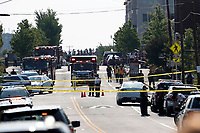 Alexandria, Va. Police and other first responders block East Monroe Ave. in Alexandria, Va., Wednesday, June 14, 2017, after a shooting involving House Majority Whip Steve Scalise of La, at a congressional baseball practice. (AP Photo/Alex Brandon)