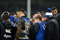 The Bath Rugby team huddle together after the final whistle. Anglo-Welsh Cup Final, between Bath Rugby and Exeter Chiefs on March 30, 2018 at Kingsholm Stadium in Gloucester, England. Photo by: Patrick Khachfe / Onside Images