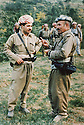 Iraq 1983     <br /> In Lolan, left , Masoud Barzani discussing with Najmeddin Yousefi  <br /> Irak 1983  <br /> Dans le Lolan, Masoud  Barzani discutant avec Najmeddin Yousefi