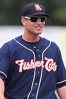 New Hampshire Fisher Cats third baseman Mark Sobolewski #14 smiles during a game against the Bowie Baysox at Prince George's Stadium on June 17, 2012 in Bowie, Maryland. New Hampshire defeated Bowie 4-3 in 13 innings. (Brace Hemmelgarn/Four Seam Images)