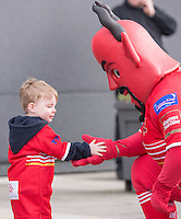 Picture by Allan McKenzie/SWpix.com - 04/03/2017 - Rugby League - Betfred Super League - Salford Red Devils v Warrington Wolves - AJ Bell Stadium, Salford, England - Fans meet the Red Devil Mascot.