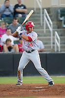 Carlos Lopez (26) of the Hagerstown Suns at bat against the Kannapolis Intimidators at CMC-Northeast Stadium on May 31, 2014 in Kannapolis, North Carolina.  The Intimidators defeated the Suns 4-3 in game two of a double-header.  (Brian Westerholt/Four Seam Images)