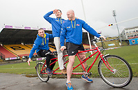 Picture by Allan McKenzie/SWpix.com - 04/04/2018 - Rubgy League - RL Cares Ride to Wembley - Provident Stadium, Bradford, England - Andy Lynch, Robbie Hunter-Paul and Keith Senior on one of the tandems to be used in the RL Cares Ride to Wembley.