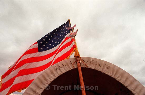 American flag on a handcart along the Mormon Trail Wagon Train.<br />
