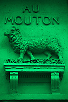 Paris Left Bank: An old emblem in rue du Four: a marble statue representing a ram (it is written &quot;au mouton&quot;) (monochrome).<br /> <br /> You can download this file for (E&amp;PU) only, but you can find in the collection the same one available instead for (Adv).