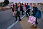 Basque prisoners relatives cross the road to get to Herrera de la Mancha prison (Ciudad Real province) to visit their loved ones. Manzanares (Spain) November 18, 2006. Basque prisoners are dispersed on Spanish and French prisons. Usually their relatives travel together using vans driven by volunteers who they call themselves 'Mirentxin' (something similar to 'little Mari'). (Bostok Photo / Gari Garaialde)