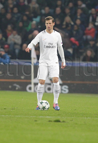 01/11/2016. Basel, Switzerland. Thomas Meunieri (Paris Saint Germain) in action during the champions league match against FC Basel Paris Saint Germain at St. Jakob Park in Basel, Switzerland