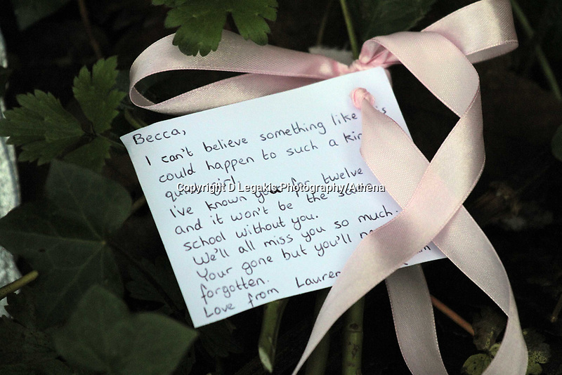 Pictured: Floral tributes and notes left by a South Wales Police officer at the scene where the body of Rebecca Aylward was discovered. Monday 25 October 2010<br />