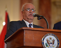 July 30, 2013  (Washington, D.C.)  Palestinian Chief Negotiator Dr. Saeb Erekat speaks to the media at the Department of State before Middle East peace talk with Israeli Justice Minister Tzipi Livni in Washington, D.C. (Photo by Don Baxter/Media Images International)