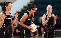 24.10.2015 Silver Ferns Ameliaranne Wells in action during the Silver Ferns training head of their netball test match against the Australian Diamonds in Melbourne. Mandatory Photo Credit ©Michael Bradley.